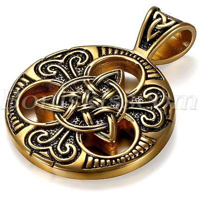 Vintage Gold Black Stainless Steel Celtic Knot Pendant Men's Necklace Chain 24""