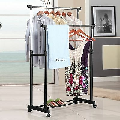 Clothes Hanger Rack Portable Double Rail Heavy Duty Adjustable Rolling Tier USA