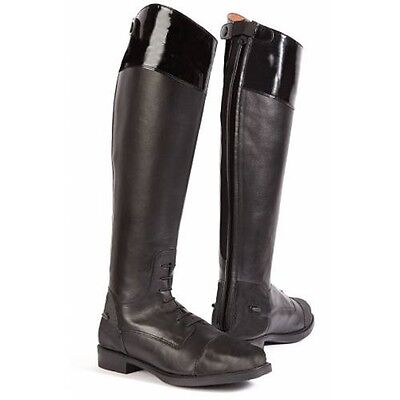 TOGGI CAYMAN FULL GRAIN LEATHER & PATENT BLACK LONG Horse / Pony RIDING BOOTS
