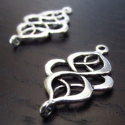 Filigree Connector Charms Antique Silver Plated Pendants C5301 - 10, 20 Or 50PCs