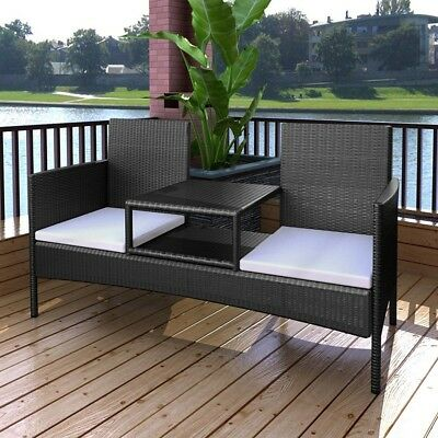 #vidaXL Rattan Wicker 2 Seater Bench Tea Table Outdoor Garden Furniture Set Blac