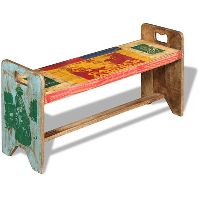 #vidaXL Solid Recycled Timber Reclaimed Wood Bench Entryway Furniture Vintage