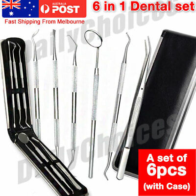 6 Tools Stainless Steel Dentist Inspection Teeth Cleaning Dental Hygiene Kit Set
