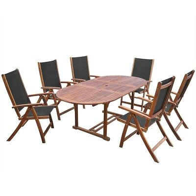 #7 Piece Outdoor Dining Set Acacia Wood and Textilene Oval Extension Table Garde