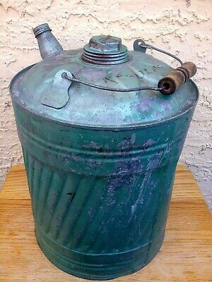 Antique Vintage 5 Gallon  Gas Can With Old Green-Red Paint