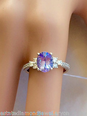 Sparkling Genuine 2Ct Tanzanite & Diamond Cluster Ring 9Ct Gold