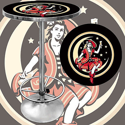 "Trademark Miller High Life Girl in the Moon Vintage 42"" Pub Table, Chrome"