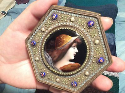 Portrait enamel compact jewelry trinket box with mirror