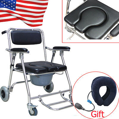 3in1 Commode Wheelchair Bedside Toilet&Shower Chair Bathroom Rolling Chair+Gift