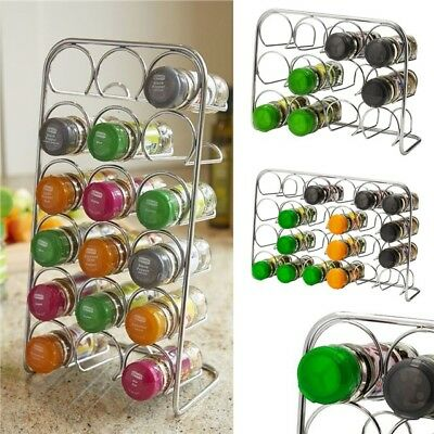 Pisa® Spice Rack Chrome Metal Stand Kitchen Cooking Jar Organiser Free Standing