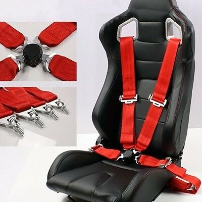 Pro Red Racing Car 4 Point Safety Nylon Harness Camlock Strap Seat Belt Sport