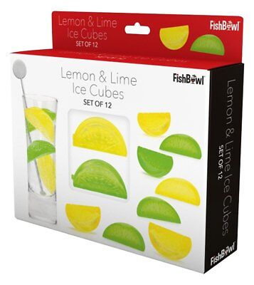 Fishbowl Plastic Reusable Ice Cubes LEMON & LIME Drinks Cocktails Bar Set of 12