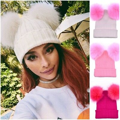 Women Men Winter Warm Knit Ski Cap Crochet Beanie Ball Wool Cuff Hat Fashion