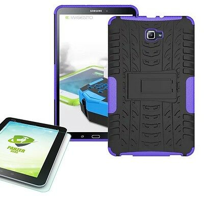 Hybrid Outdoor Purple Bag for Samsung Galaxy Tab a 10.1 T580 +0.4 Tempered Glass