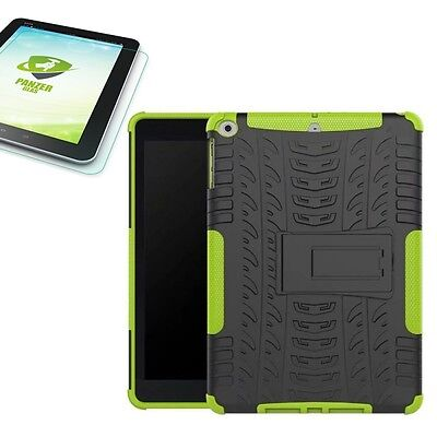 Hybrid Outdoor Cover Green for Apple iPad 9.7 2017 + H9 Tempered glass Case
