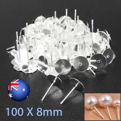 100 Pair 8mm Earring Posts&Backs Ear Nuts Clutches Findings Studs Jewelry