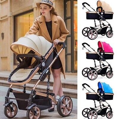 Baby Pram 2 in 1 Foldable Stroller Carrycot Pushchair Travel System Buggy + Hood