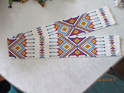 VINTAGE NATIVE AMERICAN GLASS seed BEADED 36 LONG BELT WRAP sash panel southwest