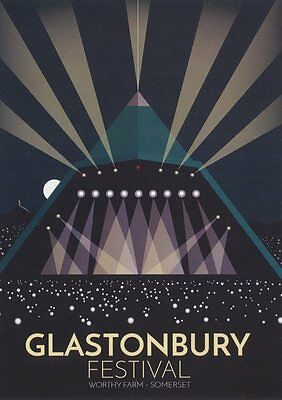 Glastonbury Festival Art Deco Railway Poster 1930s style Blank Birthday Card