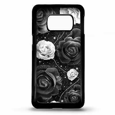 Black rose floral flower art case cover for Samsung Galaxy S5 S6 S7 edge S8 plus