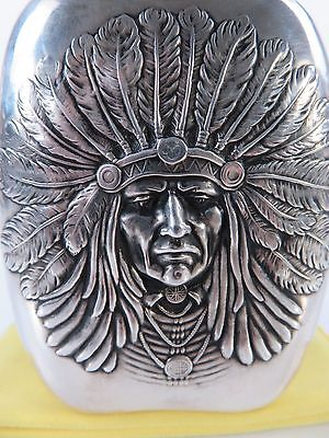 Unger Brothers Small Sterling Silver Indian Chief Liquor Flask, c1905