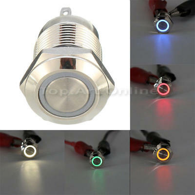 AngelEye Blue Led 16mm 12V staInless Steel Round Momentary Push Button Switch