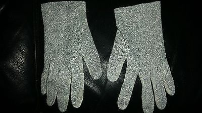 Dents vintage nylon lurex silver gloves small made in Hong Kong
