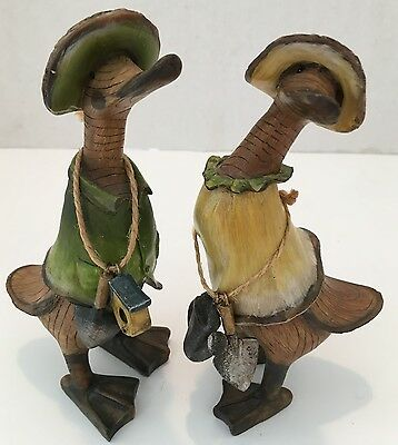 Two Collectible Duck Gardening Figurines