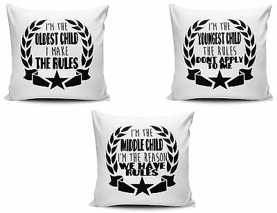 I'm The Oldest, Middle & Youngest Child Funny Cushion Cover Variation