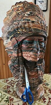 Native American Indian Chief  Full Feather Headdress Bust