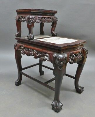 Chinese Carved Hardwood & Marble Step Table Lot 76