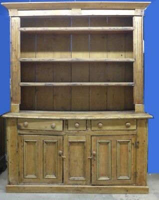 Large Rustic Farmhouse Welch Pine Cupboard Lot 207