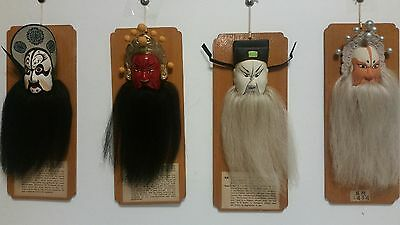Set of 4 Vintage Asian Pottery Chinese Masks Bearded Hair Wall hangings
