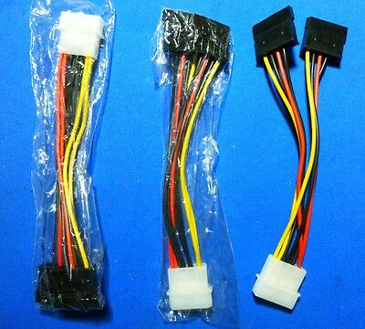 Molex 4 Pin to 2 x SATA 15 Pin Power Split Cable for Hard Disk or Optical Drive