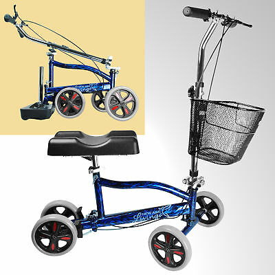 New Steerable Foldable Knee Walker Scooter Turning Brake Basket Drive Cart ;