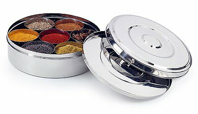 Zinel Spice Box/Masala Dabba with 7 Comparments and 2 Stainless Steel Lids, 24cm