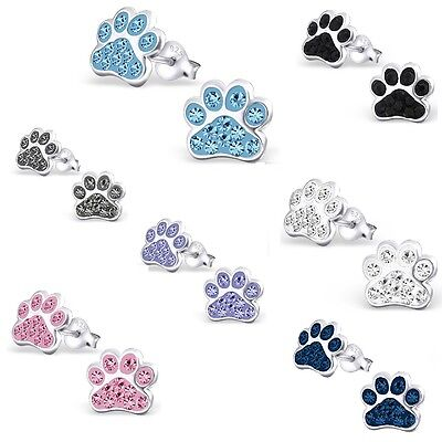 Girls Ladies 925 Sterling Silver Crystal Paw Print Earrings Dog Stud UK (31J)