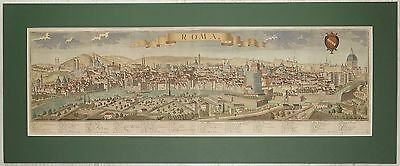 """""""ROMA"""" Rom Rome, panoramic view of Rome, Werner Probst, Augsburg 1740, original"""