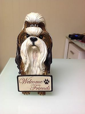 Shih Tzu Evergreen Brown & White Statue With Reversible Sign. .