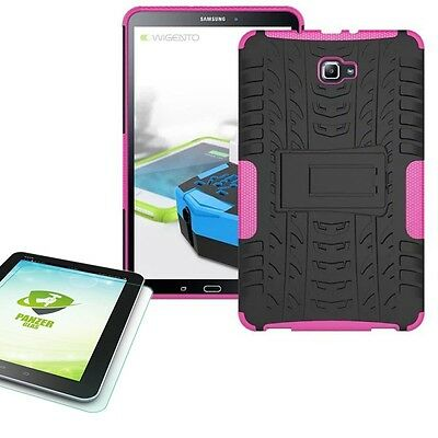 Hybrid Outdoor Case Pink for Samsung Galaxy Tab a 10.1 T580 +0.4 Tempered Glass