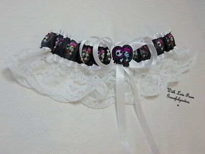 Jack and sally Nightmare before christmas white lace Bridal Wedding Garter.