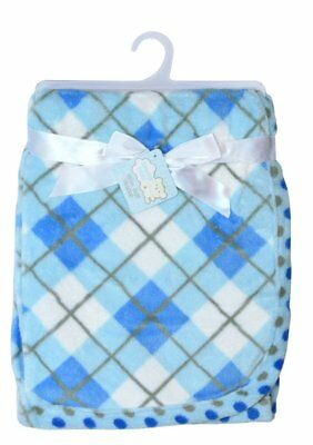 Snugly Baby Tartan Ultra Soft Fleece Blanket (Blue)