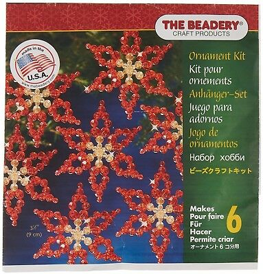 Beadery Plastic Holiday Beaded Ornament Kit Poinsettias 3.5-inch Makes 6