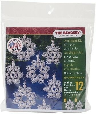 Beadery Plastic Holiday Beaded Ornament Kit Crystal And Pearl Snowflakes Makes