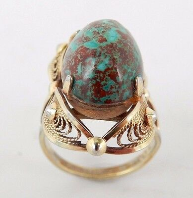 Vintage 12k Gold Filled Ring with Blue Stone Size 4 Sku 7.7.26.6