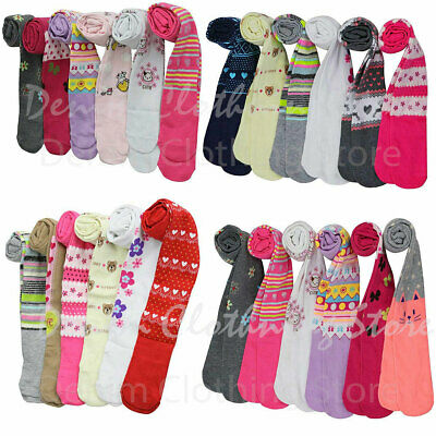 6pc GIRL KID WARM WINTER ASSORTED PRINTED TIGHTS CUTE COMFORTABLE SIZE XS-XL LOT