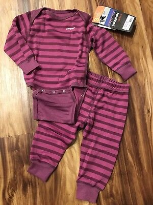 NWT Patagonia Baby Capilene Set One Piece and Pants Mid Weight Purple