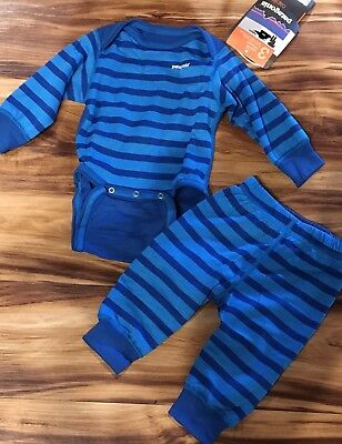 NWT Patagonia Baby Capilene Set One Piece and Pants Mid Weight Blue