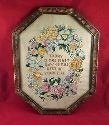 "Antique Cross Stitch ""Today is the First Day of the Rest of Your Life"""