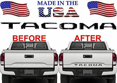 Gloss Black ABS Plastic Tailgate Letter Inserts For 2016-2018 Toyota Tacoma New